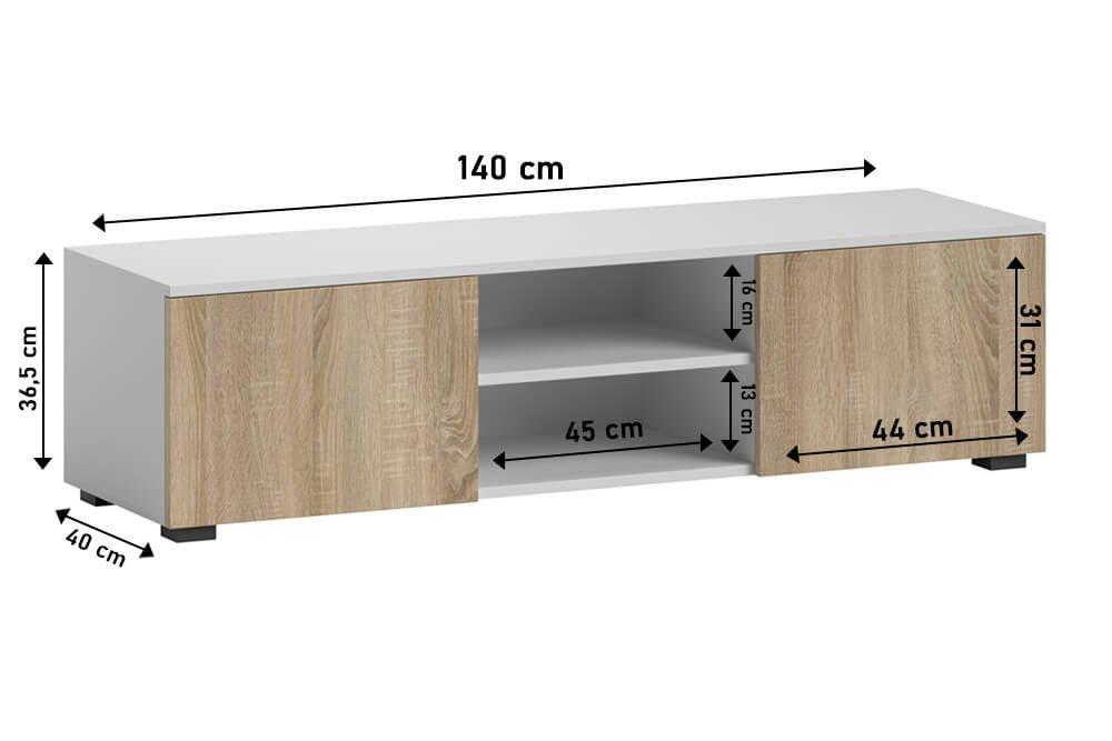 TV Unit Tristan white matt and sonoma dimensions