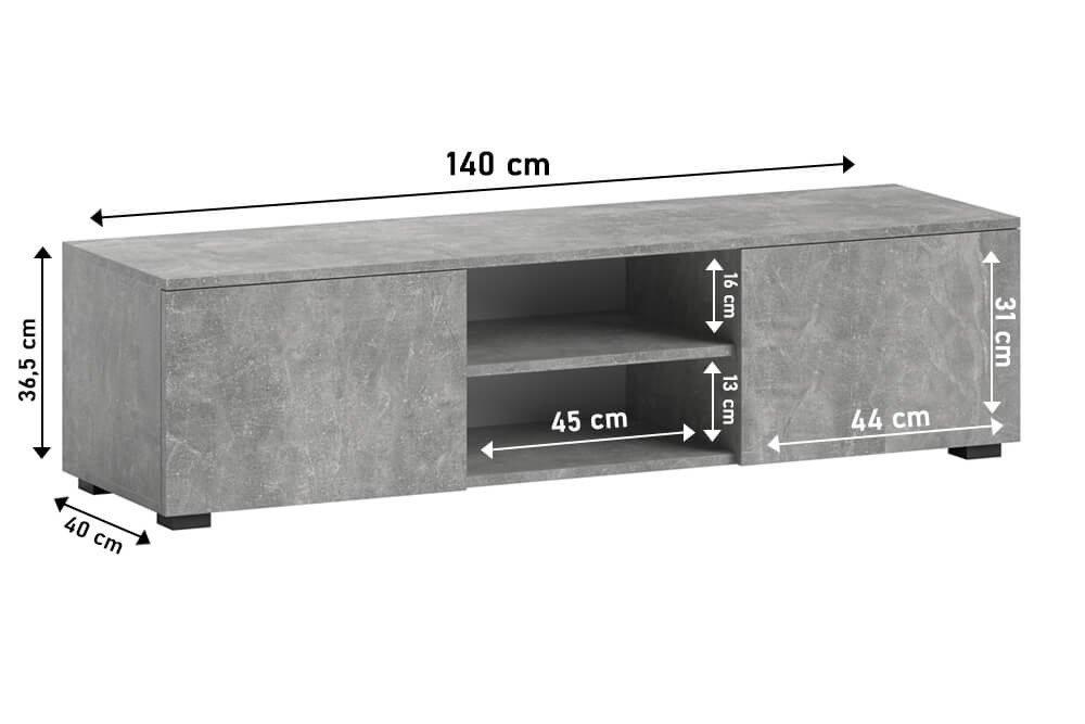Tristan TV Unit grey dimensions