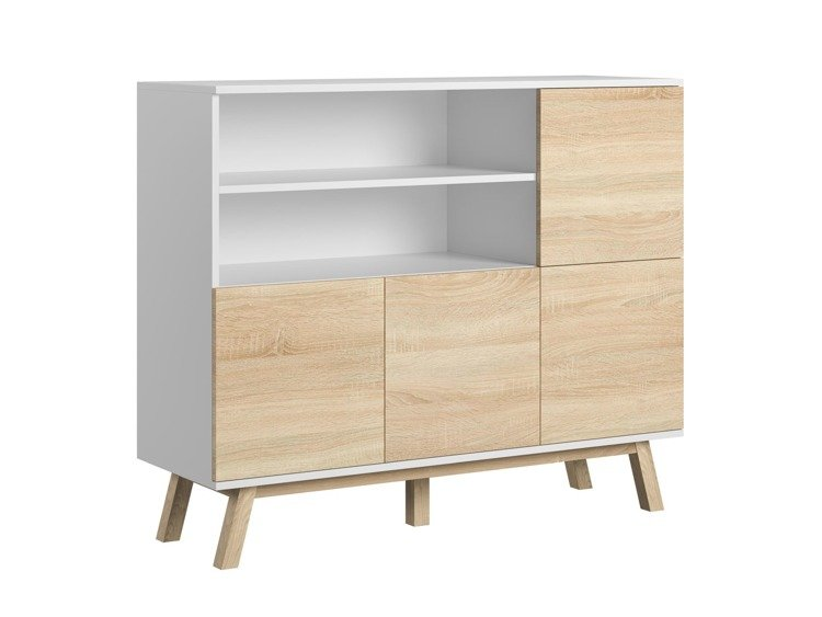 Sideboard Scandinavian retro style white oak and white matt