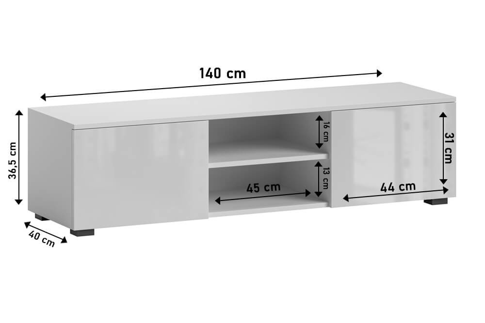 TV Unit Tristan white gloss dimensions
