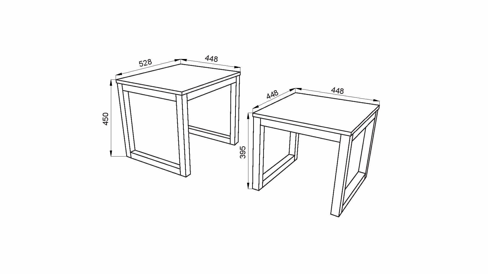 Rysunek techniczny wymiarów stoliki Lars
