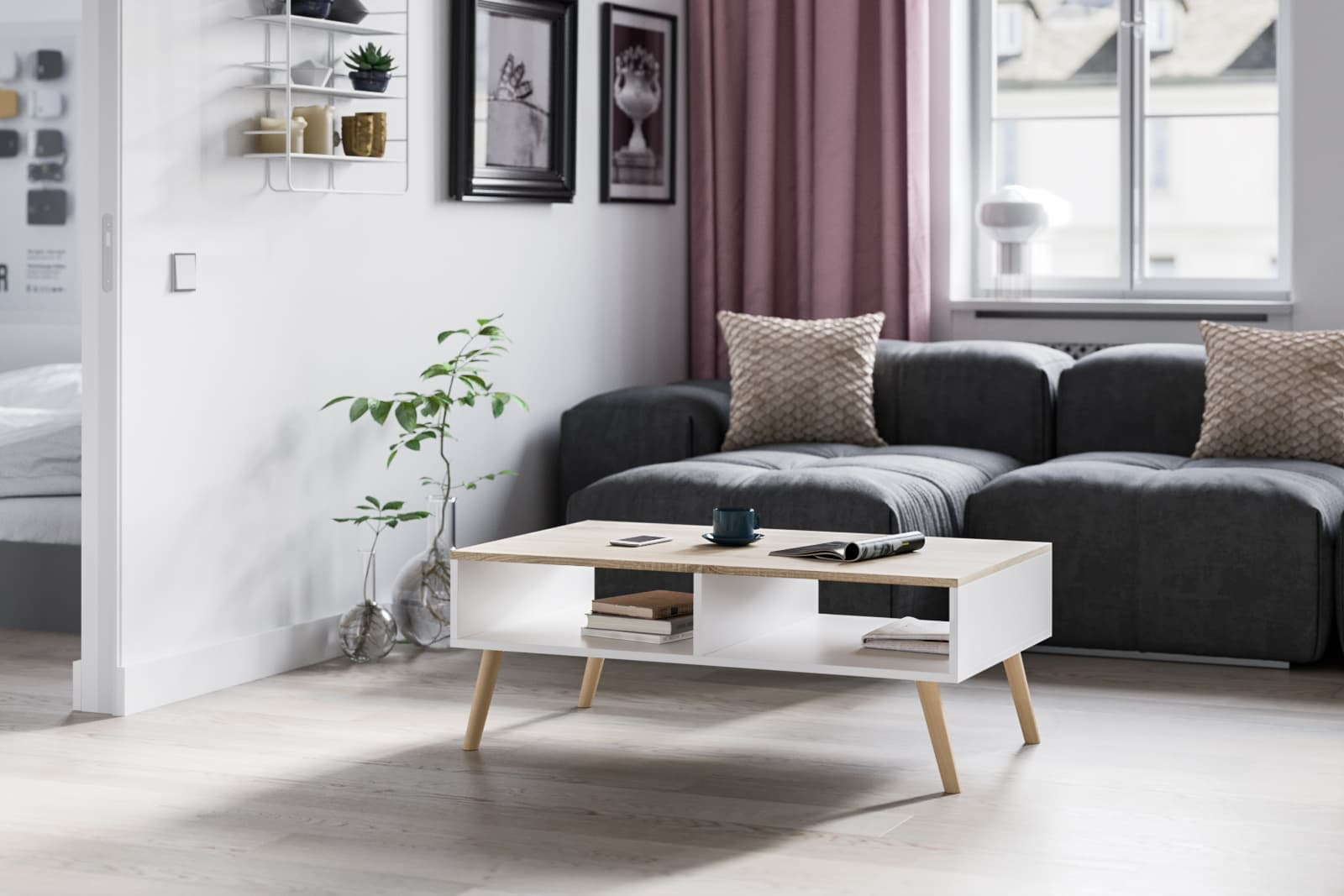 coffee table with two storage unites white with a  white oak tabletop and legs