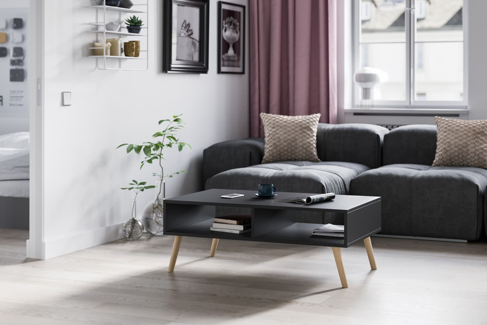black matte coffee table with two storage spaces and oval beechwood legs