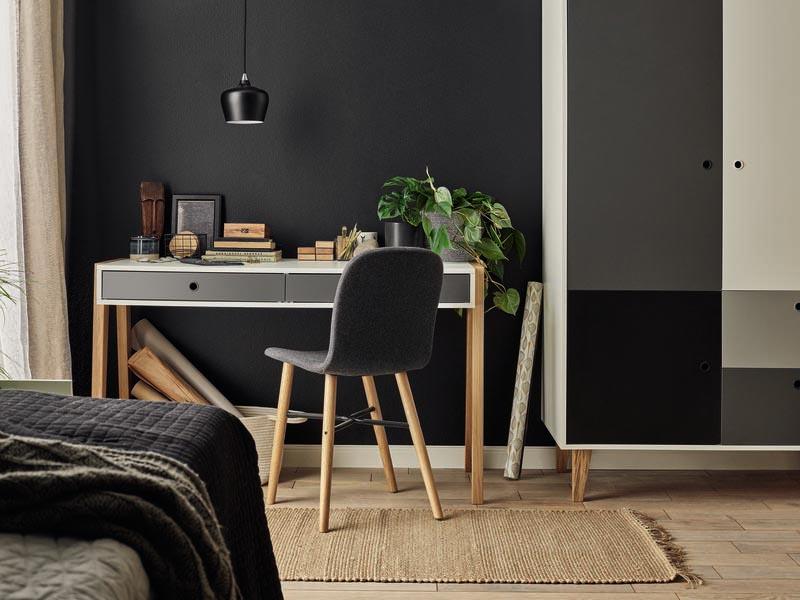 Bureau pour chambre Concept blanc et gris 127 x 60 x 76 cm