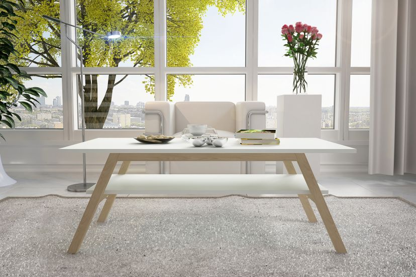 set of two coffee tables made in Scandinavian style with white tabletops and bottom storage top
