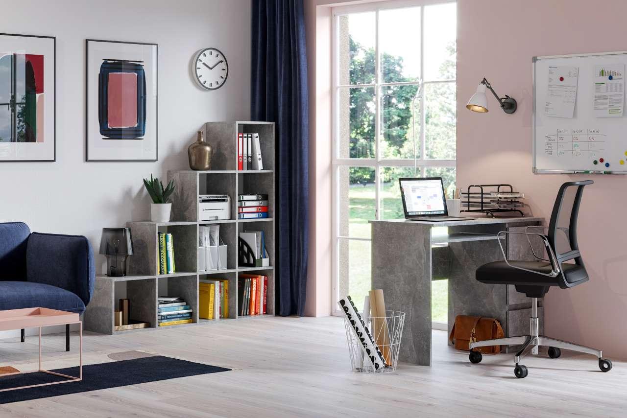Regał schodkowy pitagoras beton oraz biurko beton wizualizacja