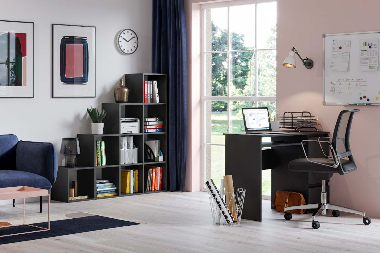 Bureau Heini noir+ meuble bibliothèque Pitagoras noir