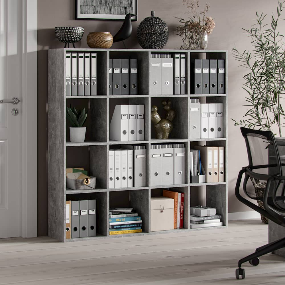 Shelving unit in Nordic style Hipokrates 16 Open Slots Grey