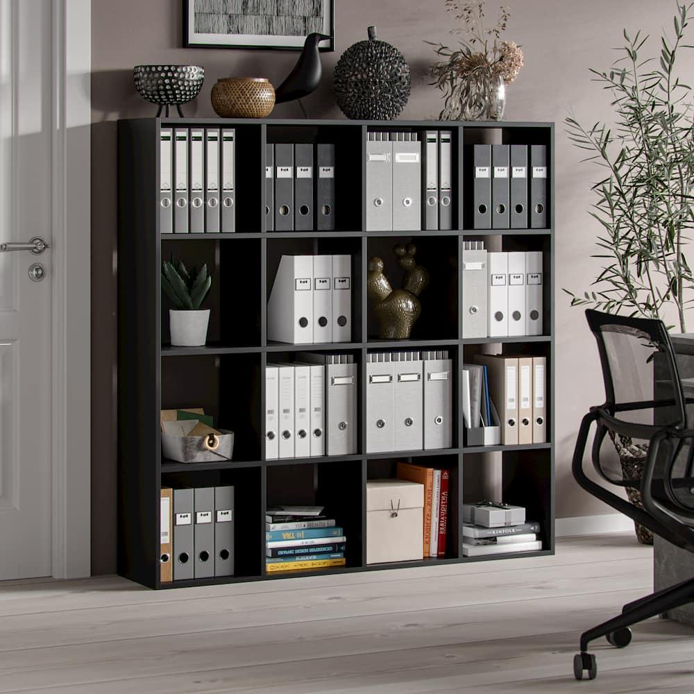 Meuble bibliothèque Hippocrate 138 x 138 x 30 cm 16 étagères noir mat