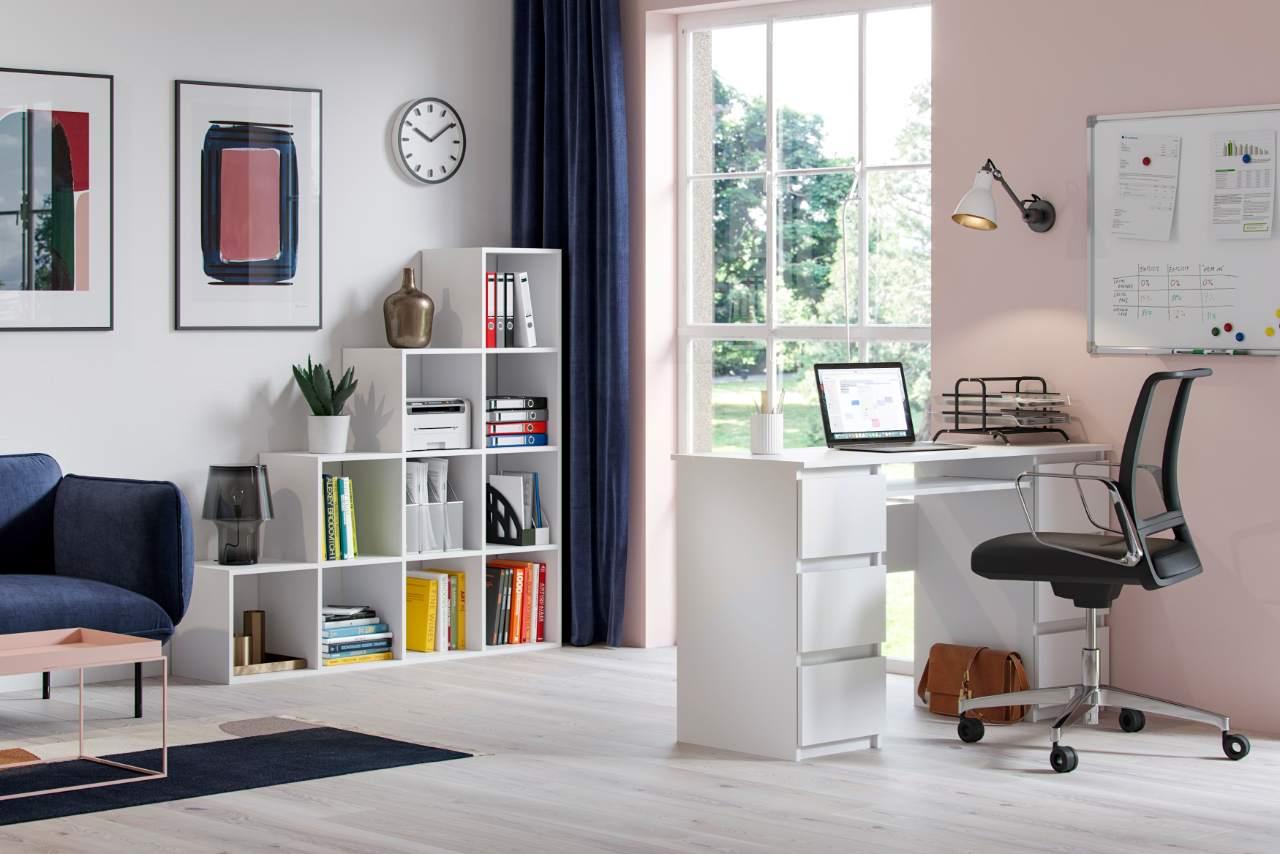 Biurko komputerowe Jaris z 6 szufladami w kolorze białym z frontami z białym połysku