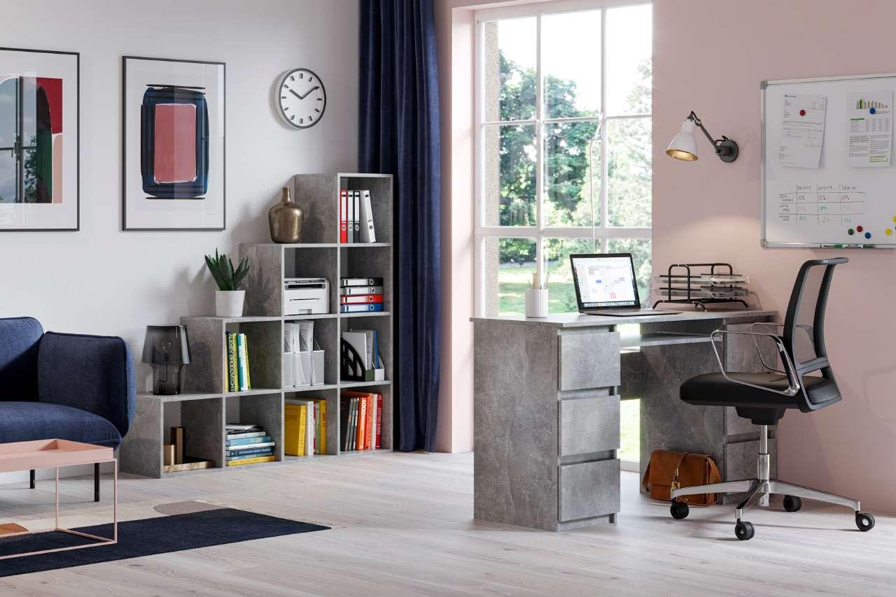Biurko komputerowe Jaris 6 szuflad kolor szary motyw betonu