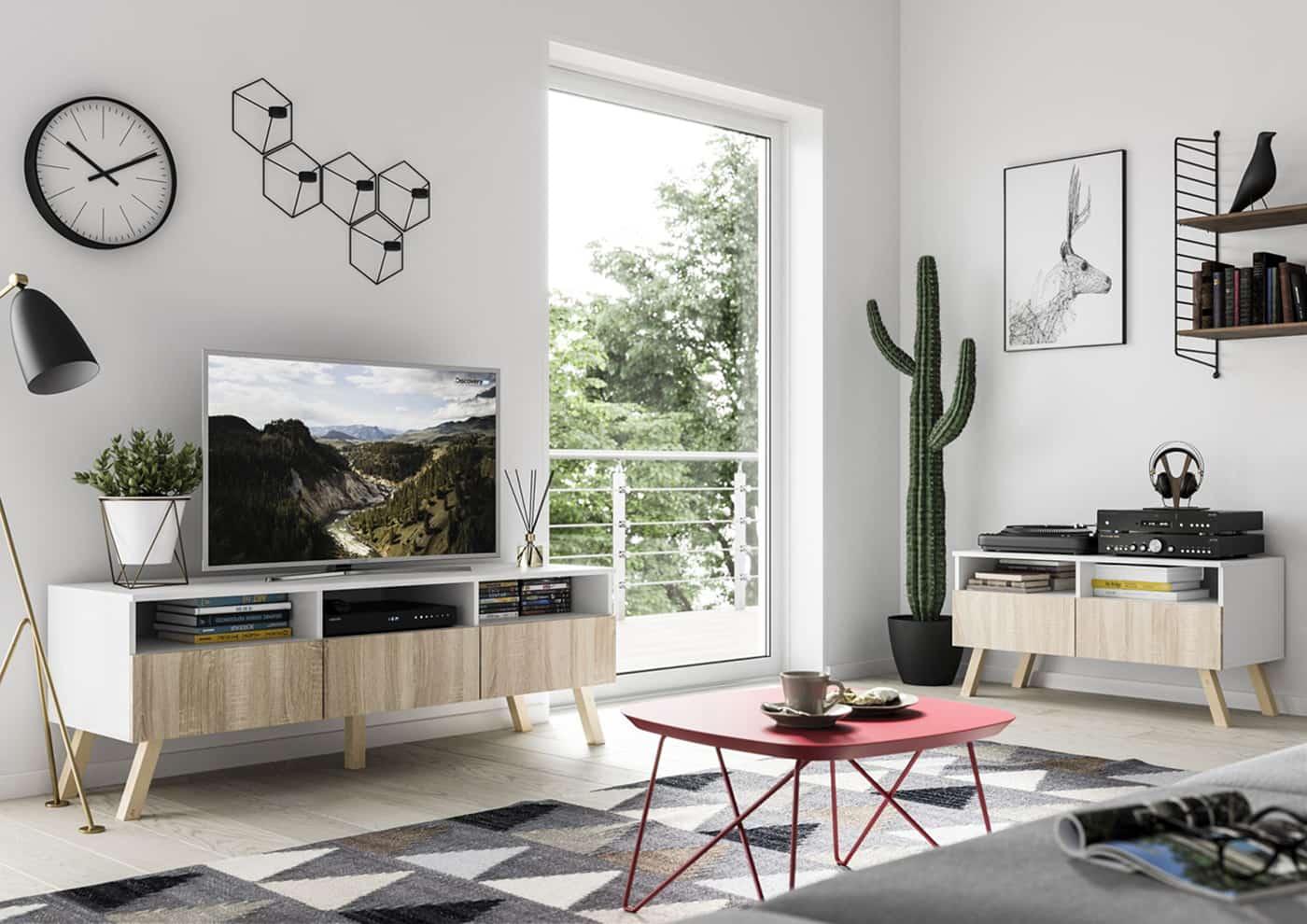 Meuble TV Astra 150 cm chêne sonoma et blanc