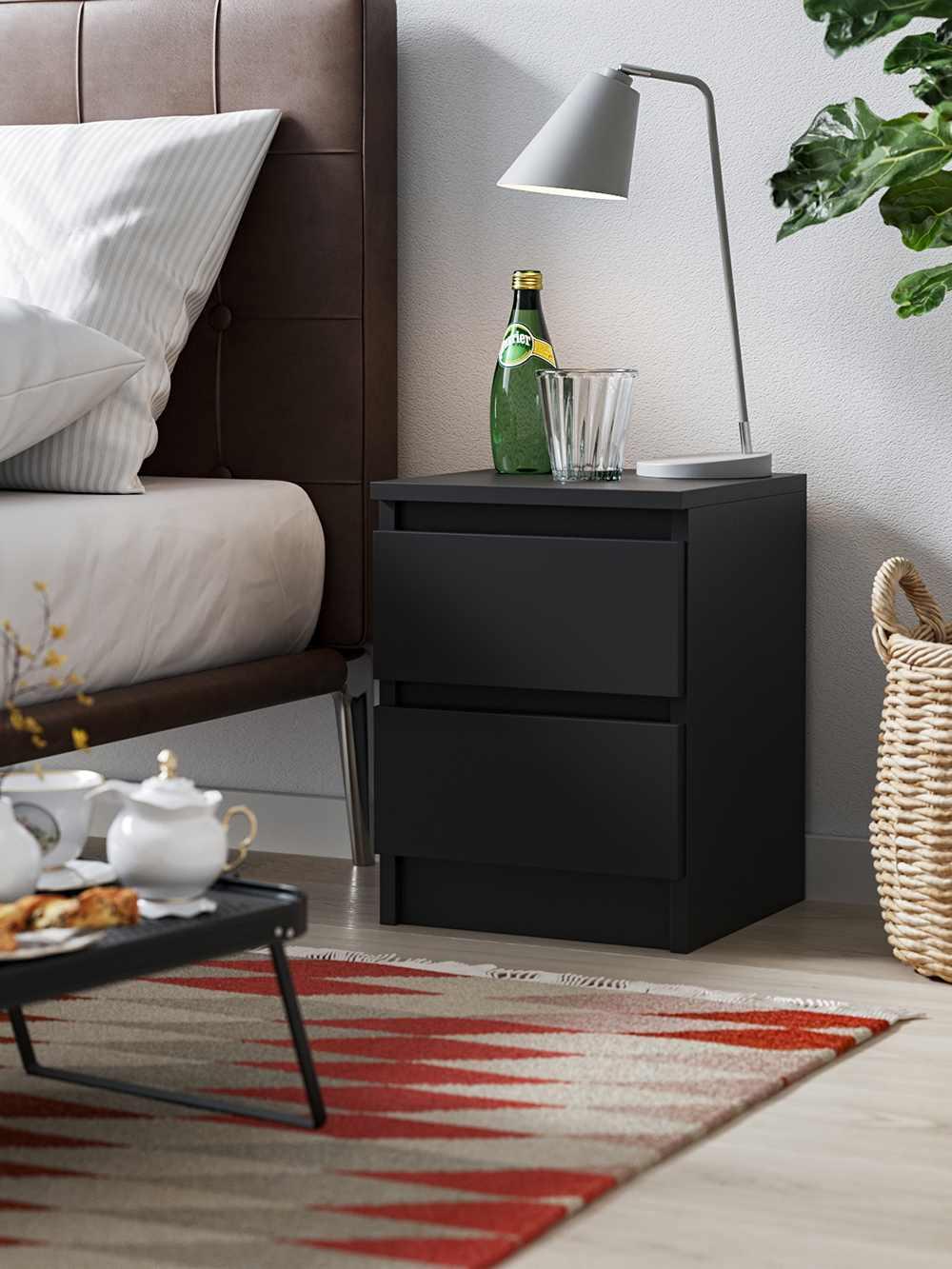 Bedside Cabinet Pari 2 black matt