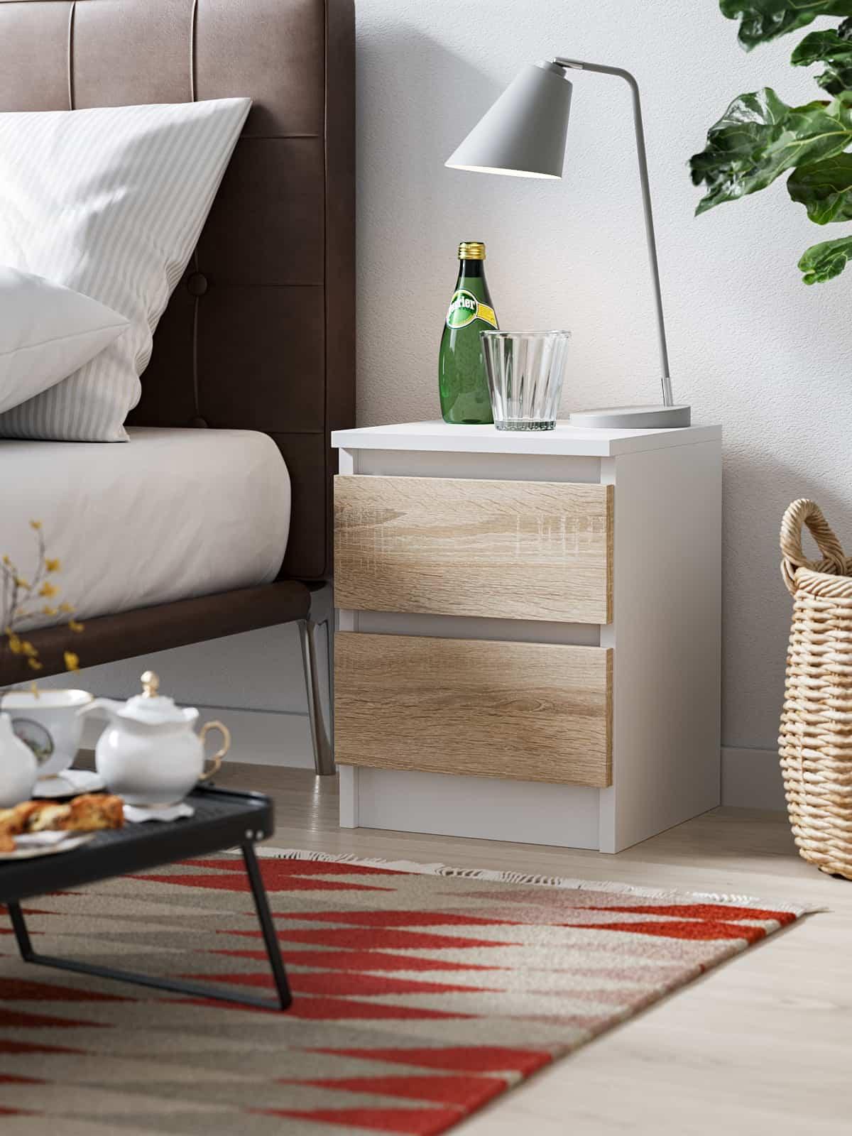 Bedside Cabinet Pari 2 white matte white oak