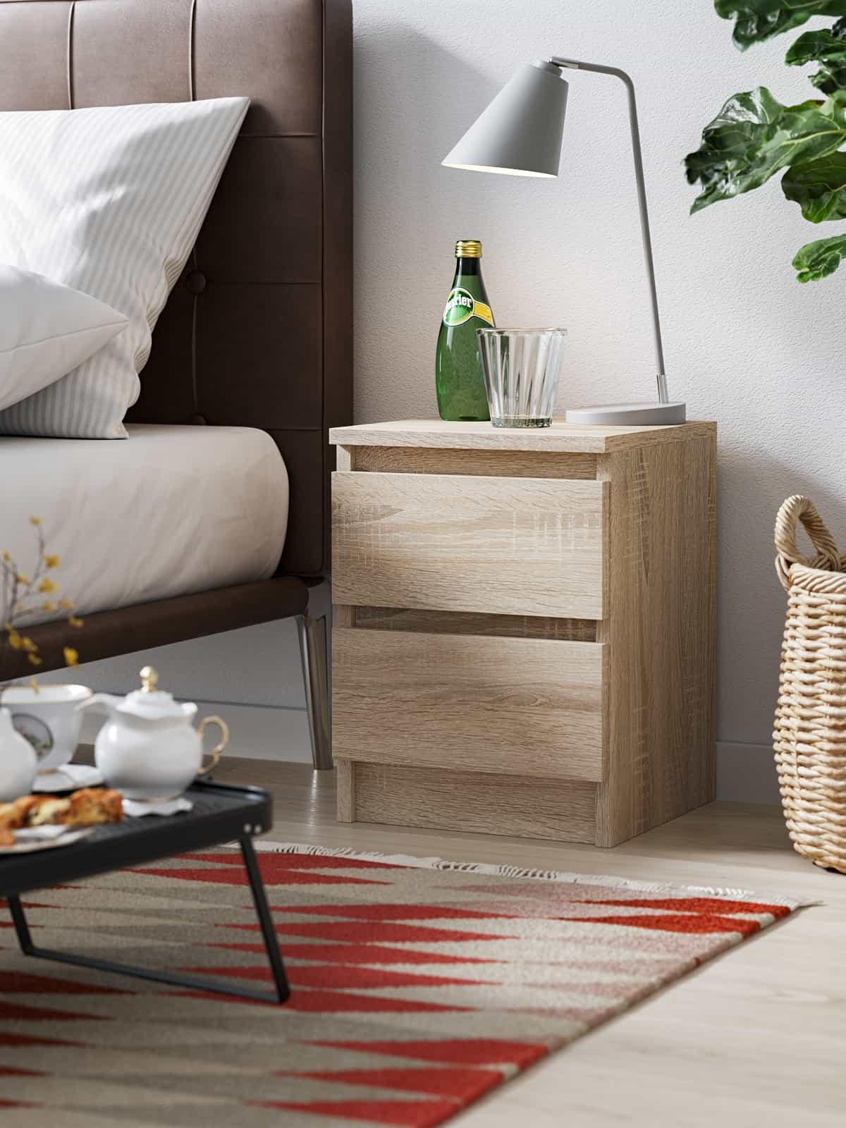 Set of 2 Bedside Cabinet Pari 2 White Oak