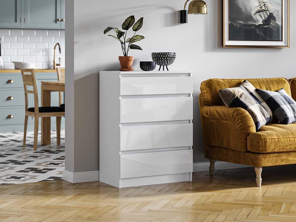 Biała Komoda 4 szuflady Pari połysk