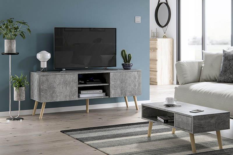 Meuble TV Roméo gris 140 cm motif béton