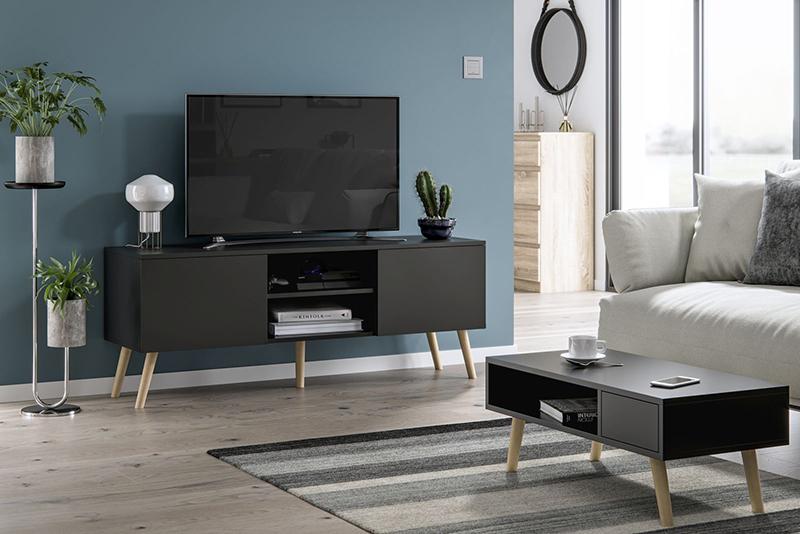 Szafka pod telewizor w stylu skandynawskim Romeo czarny mat