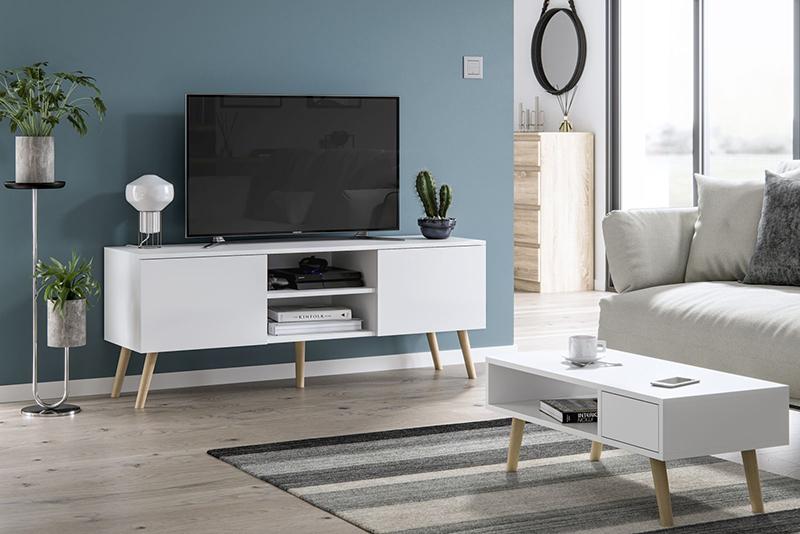 Ława Julia w stylu skandynawskim z szufladką i półką w kolorze biały mat