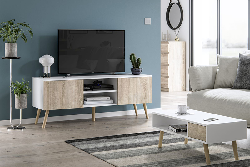 Meuble TV Roméo blanc mat et chêne sonoma 140 cm