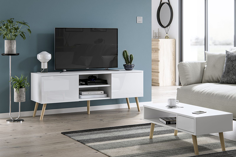 Szafka pod telewizor w stylu skandynawskim Romeo biały połysk