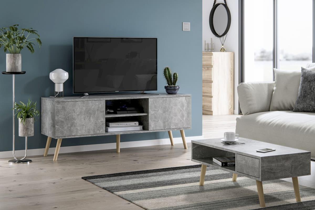 Meubles de salon table basse Juliette et meuble TV Roméo gris
