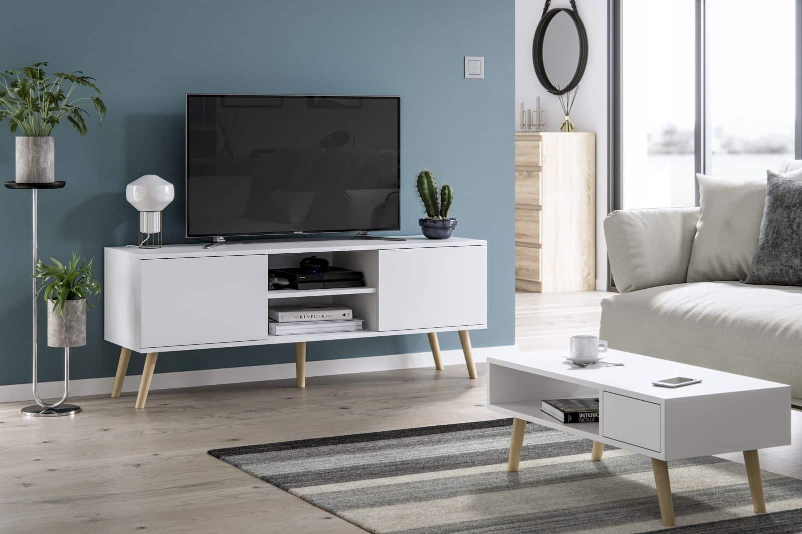 Meubles de salon table basse Juliette et meuble TV Roméo blanc mat