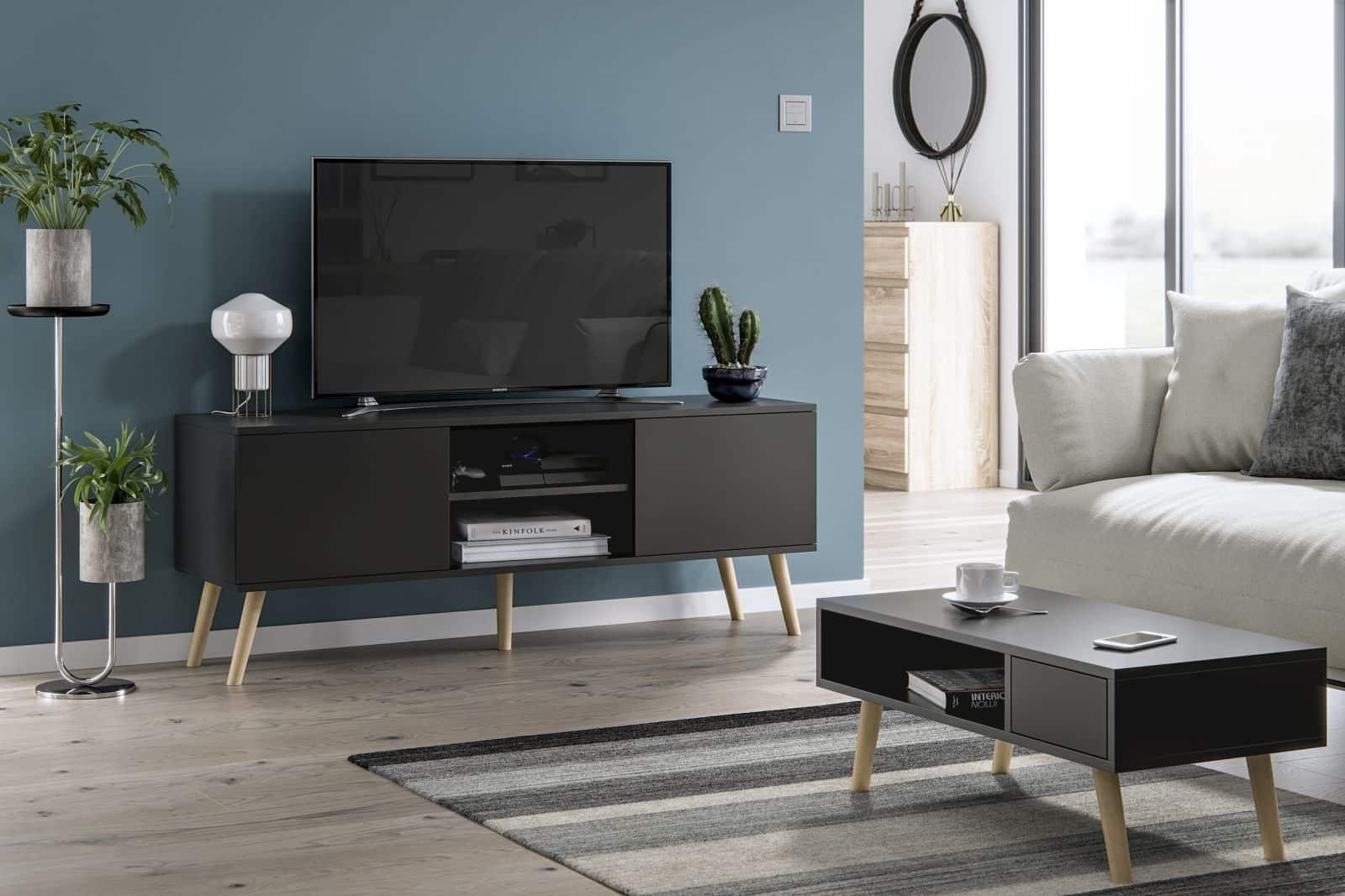 Meubles de salon table basse Juliette et meuble TV Roméo noir mat
