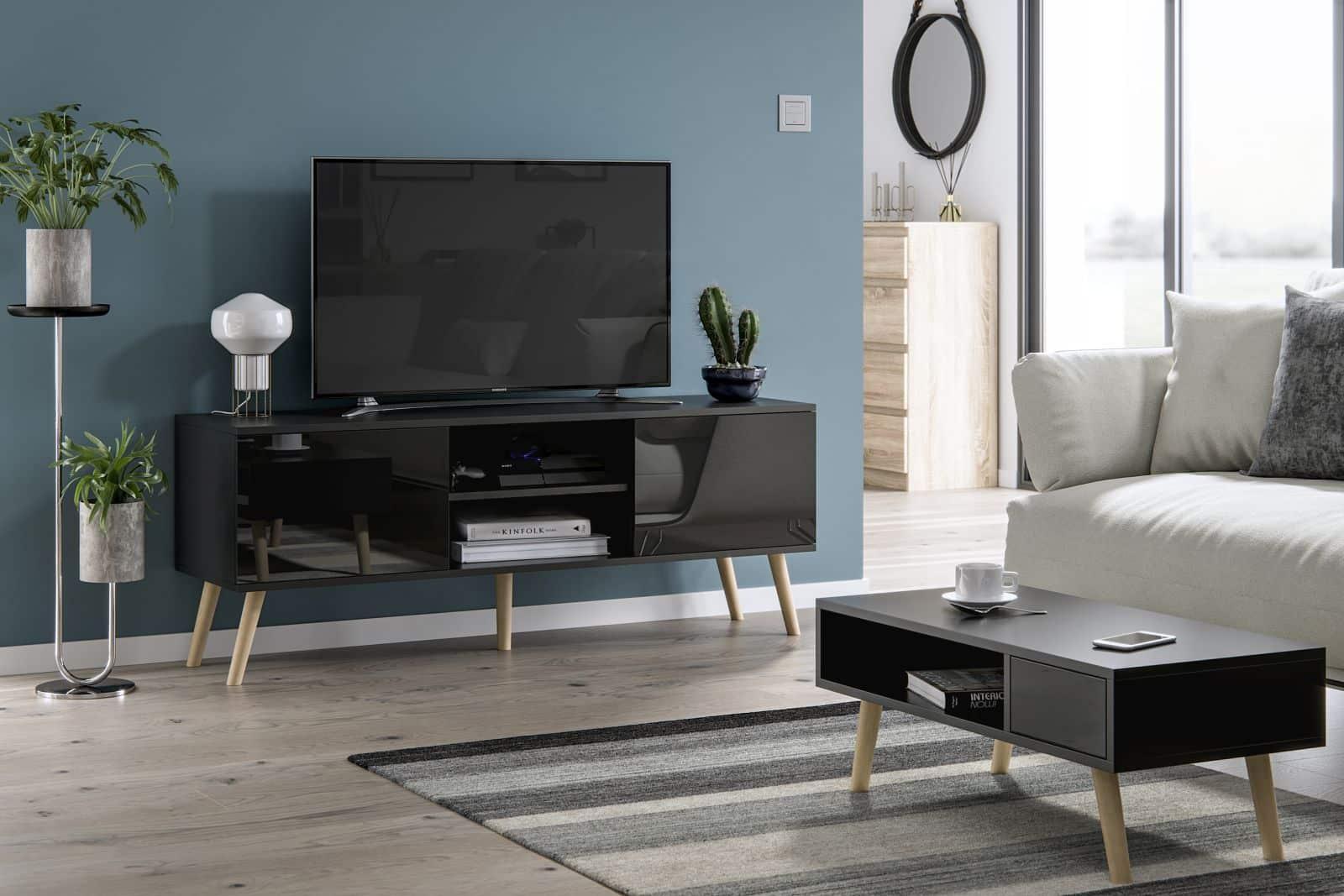 Meubles de salon table basse Juliette et meuble TV Roméo noir brillant