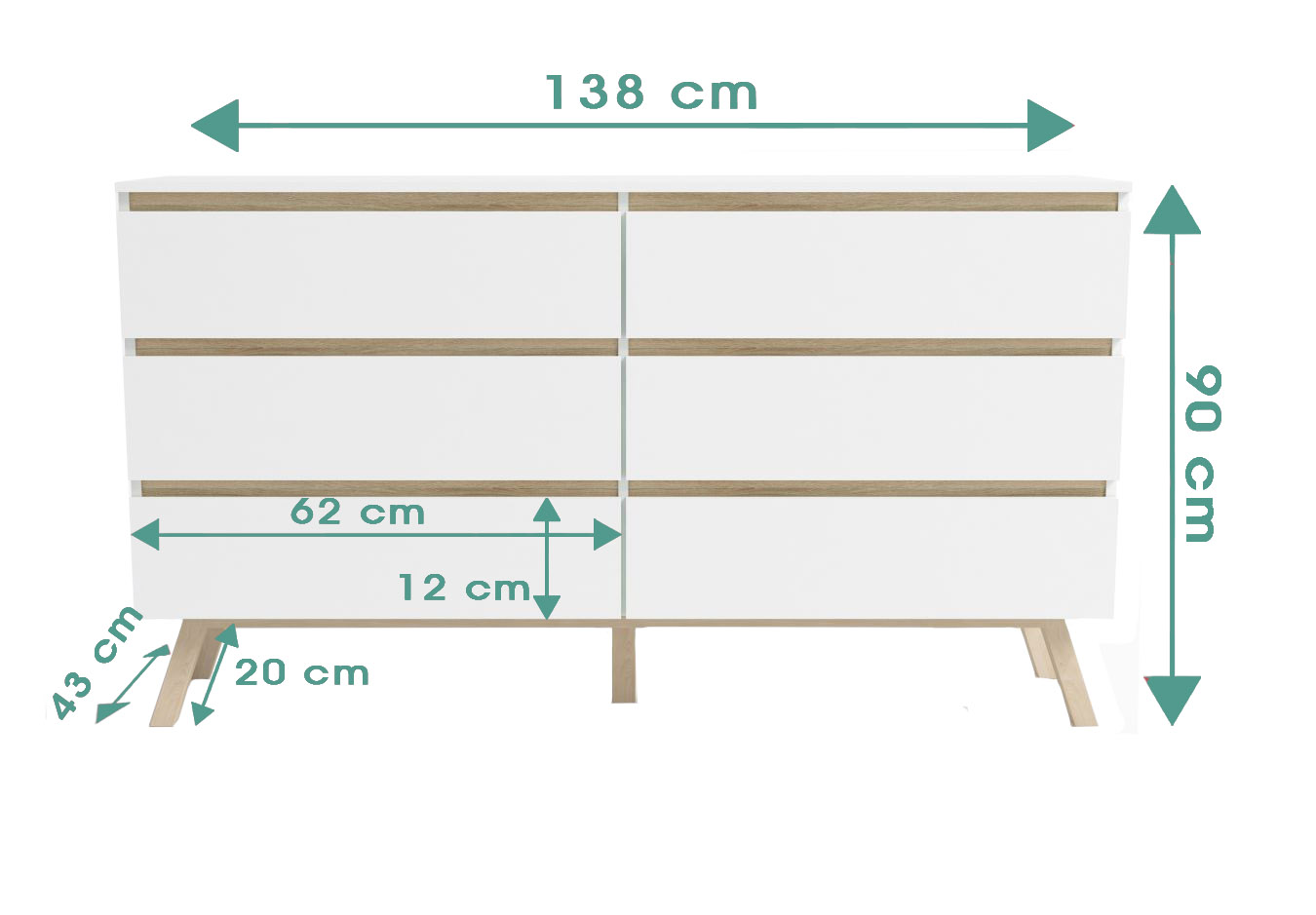 Commode Tinne 6 tiroirs dimensions