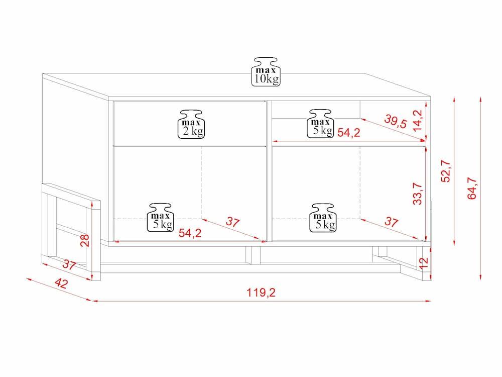 Buffet bas Larisa blanc mat 64,7 x 119,2 x 42 cm - dimensions