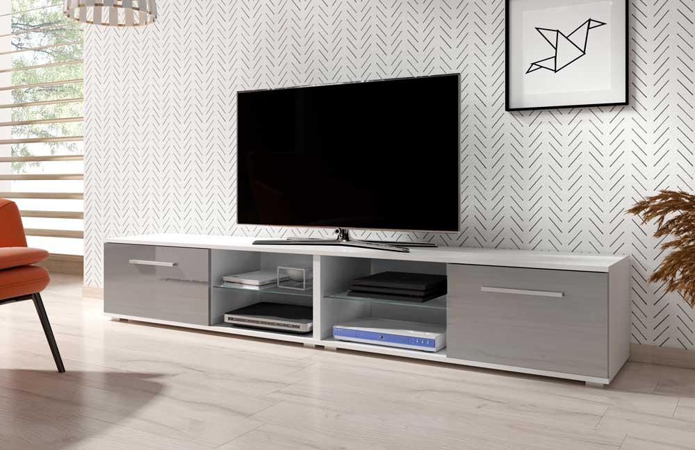 Meuble TV Elvira double gris brillant 200 x 40 x 36 cm
