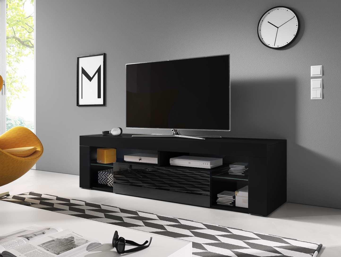 TV állvány DENALI 160 fekete és magasfényű fekete
