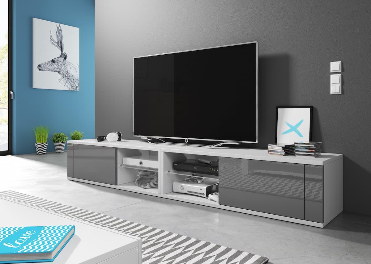 Meuble TV Top Double blanc mat et gris brillant 200 x 35,8 x 30,5 cm