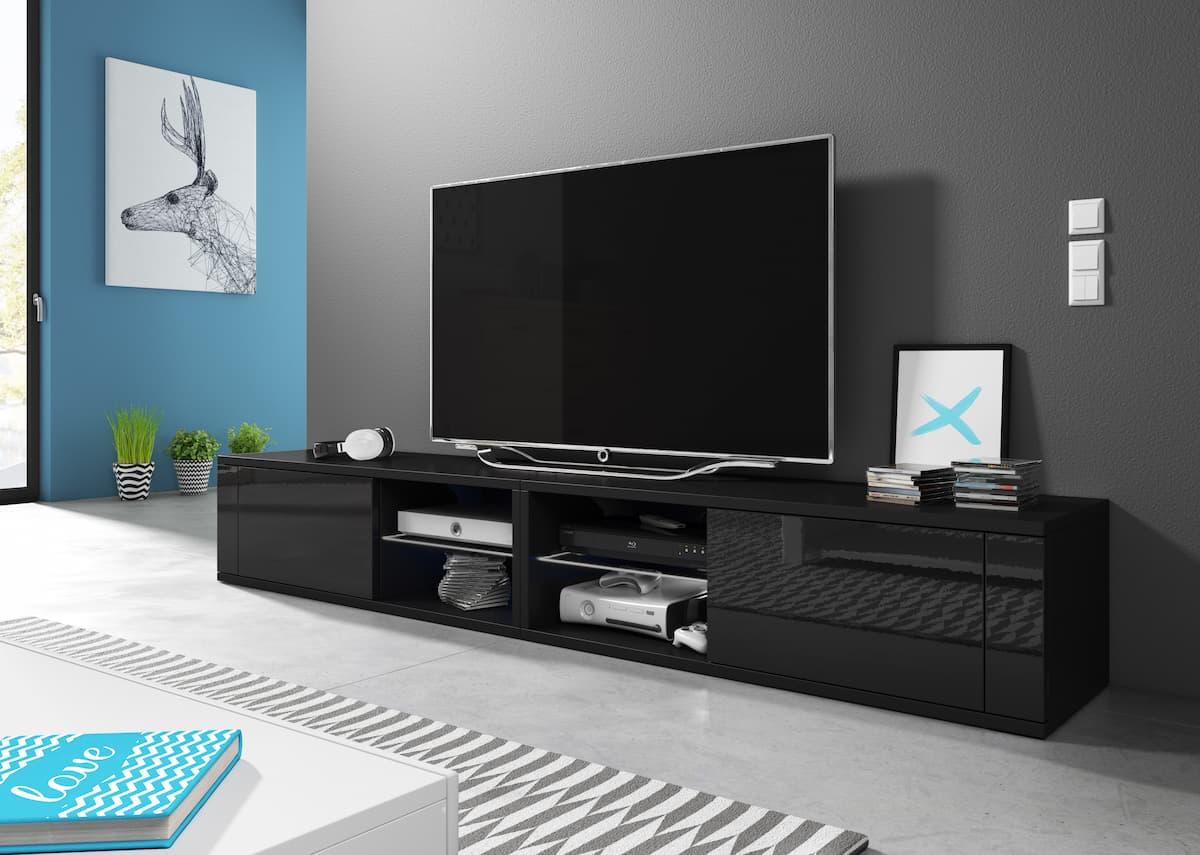 Meuble TV Top Double noir mat et noir brillant 200 x 35,8 x 30,5 cm