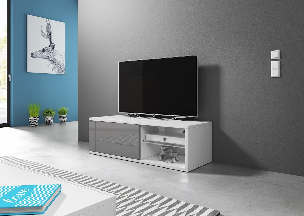 TV állvány TOP fehér és magasfényű szürke