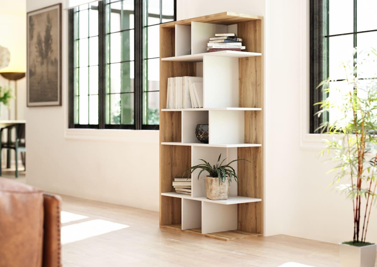 Bibliothèque de salon Susan blanc mat et chêne Wotan 80 x 160 x 35 cm