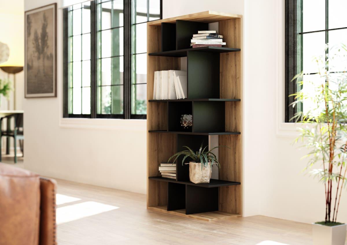 Bibliothèque de salon Susan noir mat et chêne Wotan 80 x 160 x 35 cm