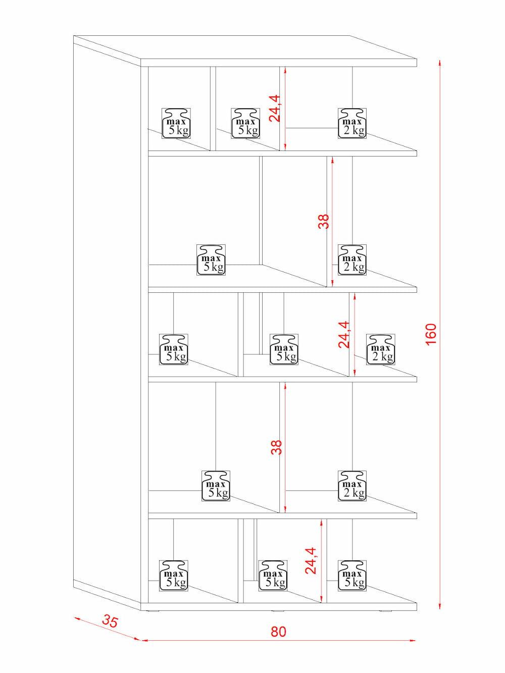 Bibliothèque de salon Susan noir mat et chêne Wotan 80 x 160 x 35 cm - dimensions