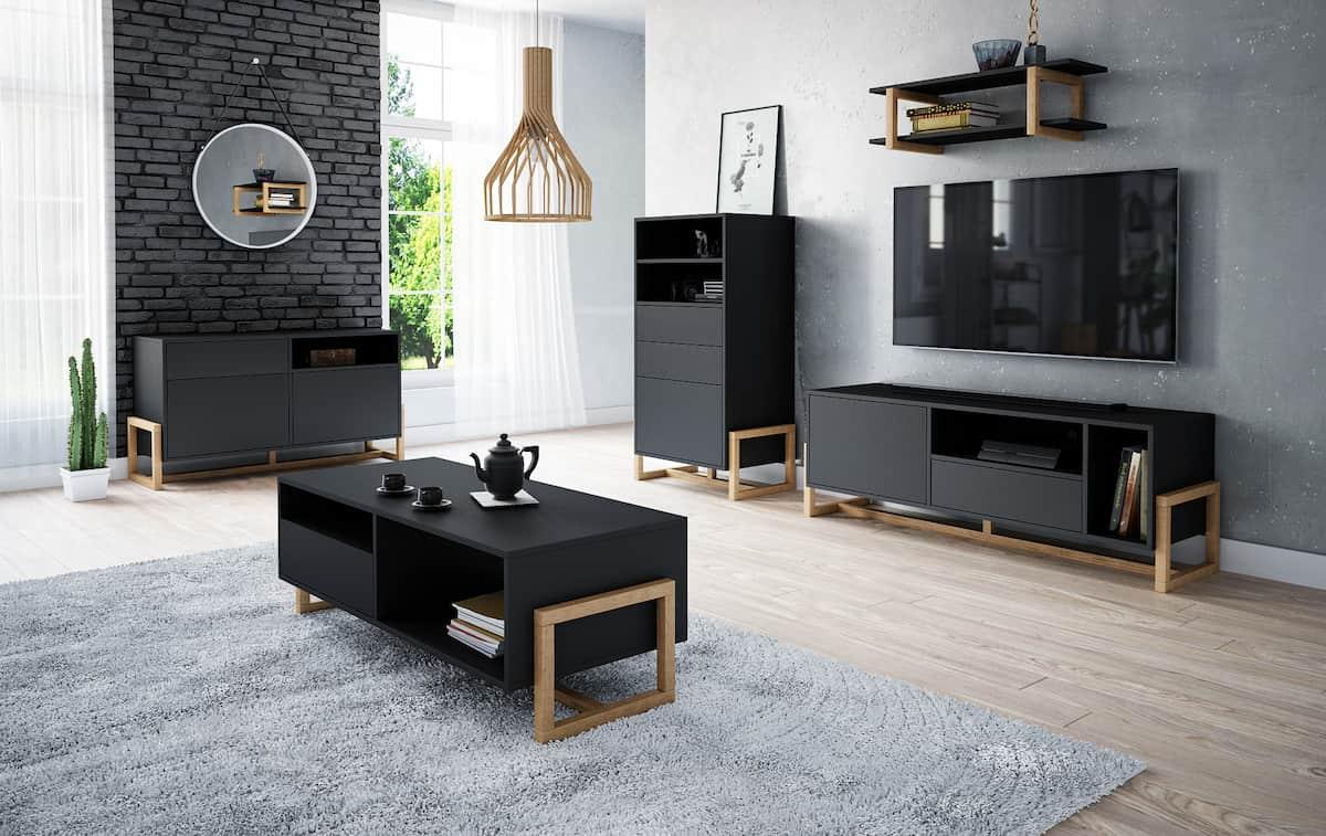 Dohányzóasztal LARISA fekete és természetes bükkfa színben
