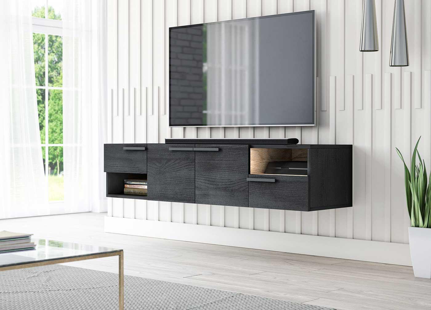 Meuble TV design Tasia blanc mat et gris foncé 153 x 35 x 25 cm