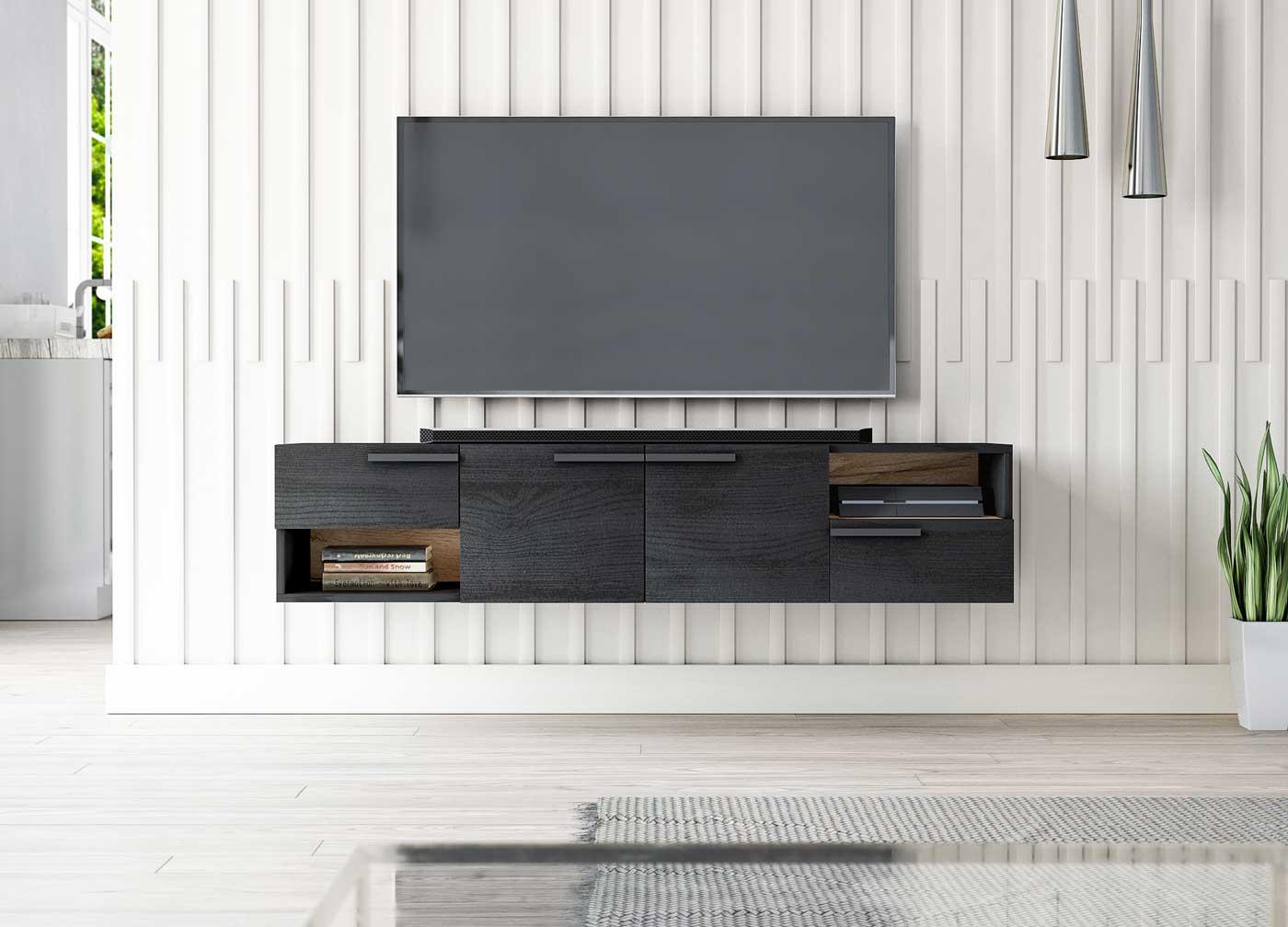 Meuble TV design Tasia blanc mat et gris foncé 153 x 35 x 25 cm - vu de face