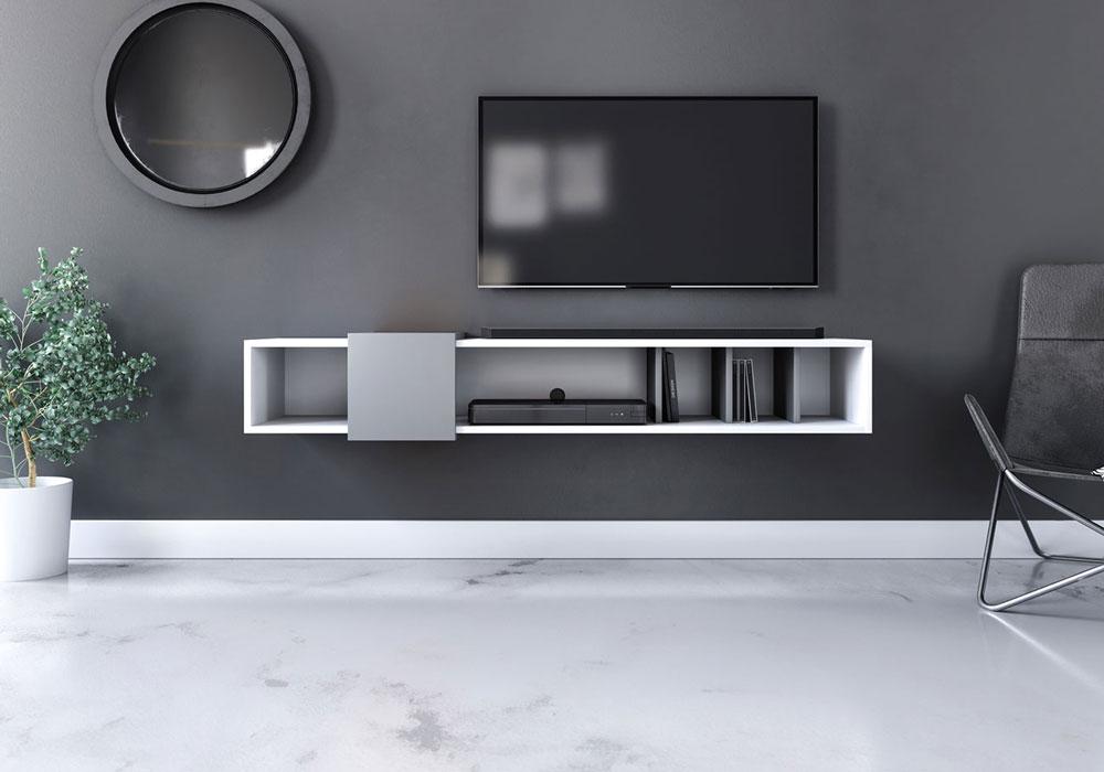 Meuble TV suspendu Rajon blanc mat et gris foncé 150 x 35 x 25 cm - vue de face