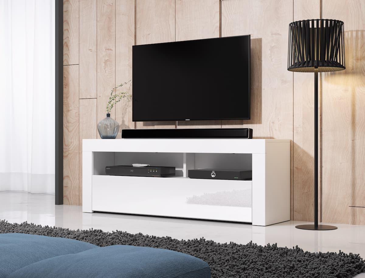 TV állvány HOMBRE 2 matt fehér és magasfényű fehér