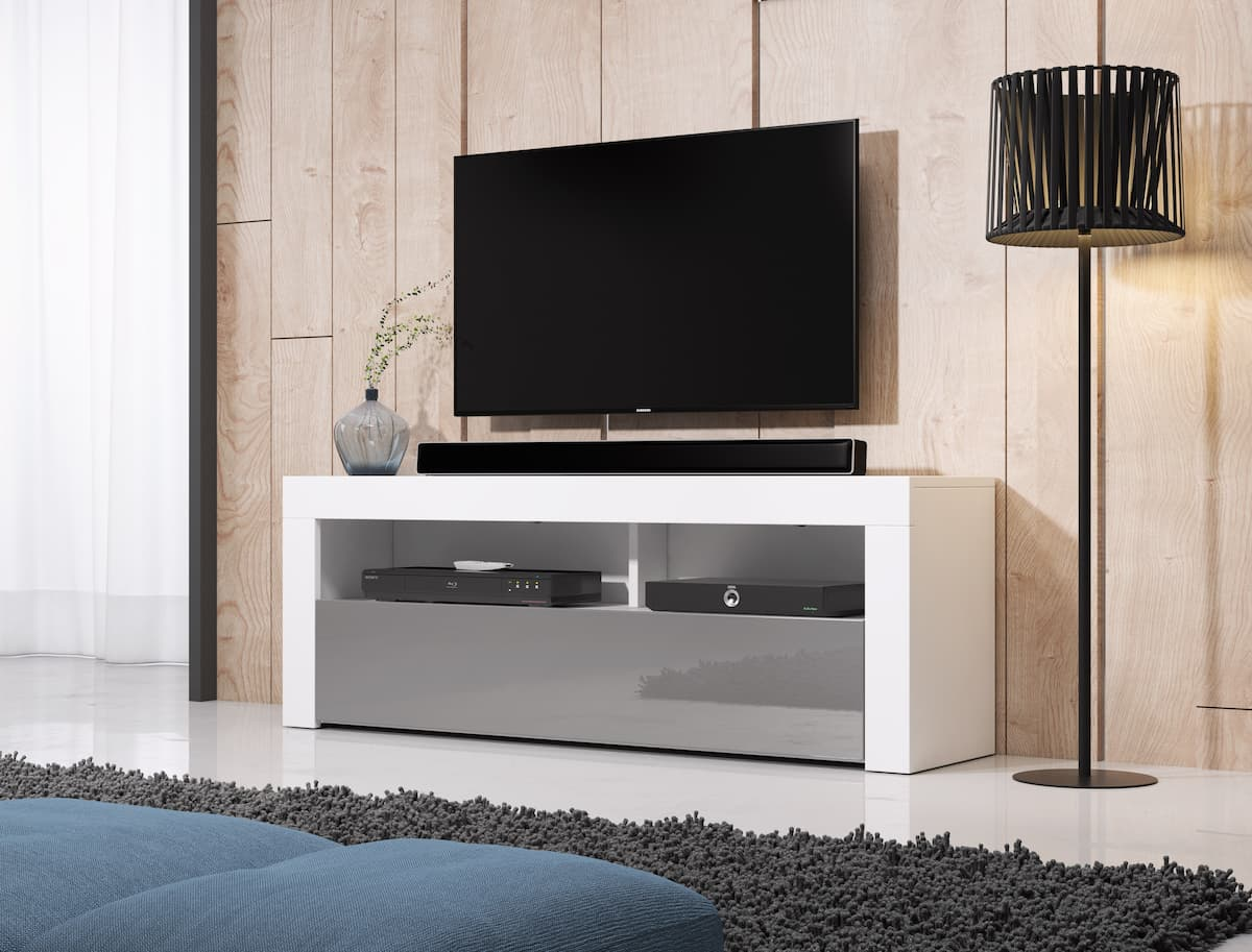 TV állvány HOMBRE 2 matt fehér és magasfényű szürke