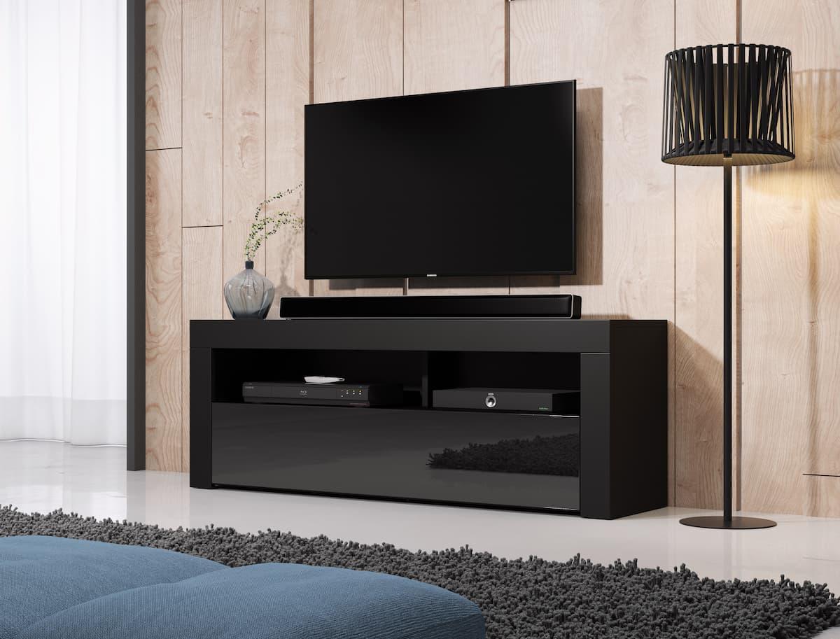 TV állvány HOMBRE 140 fekete és magasfényű fekete