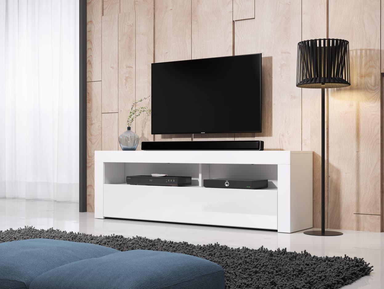 Mobile TV Hombre 160 dal color bianco opaco e bianco lucido