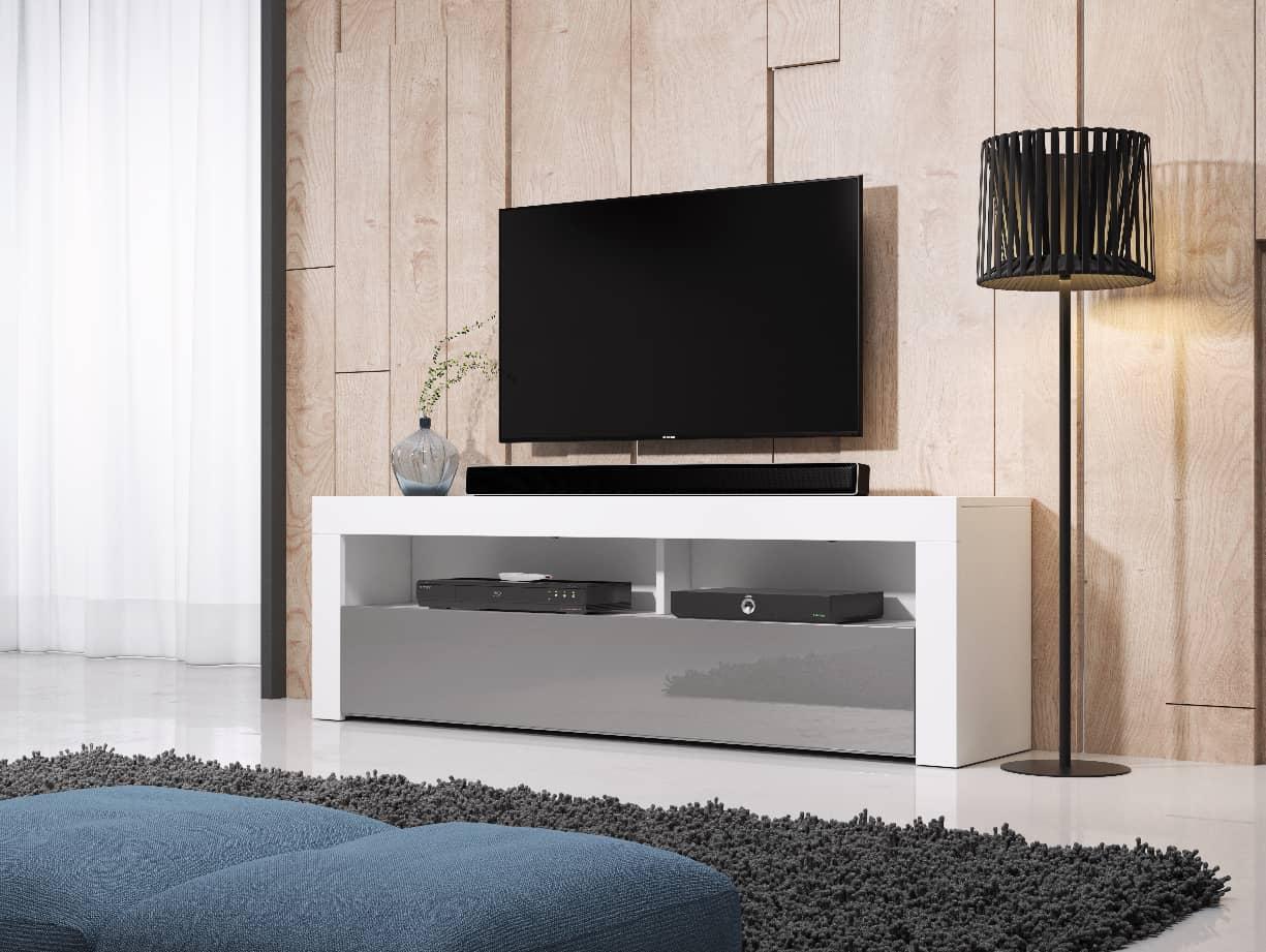 TV állvány HOMBRE 160 fehér és magasfényű szürke