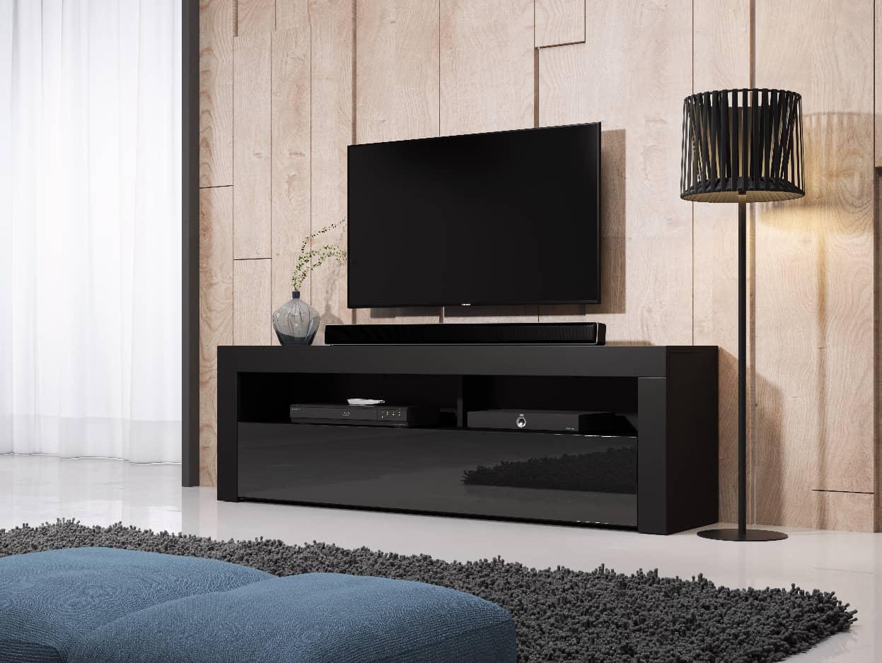TV állvány HOMBRE 160 fekete és magasfényű fekete