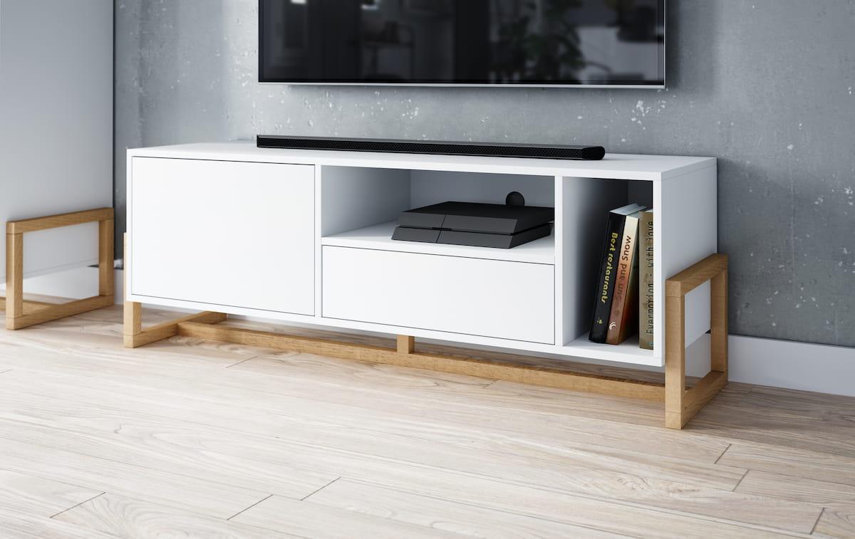 Meuble TV Larisa blanc 48,9 x 139,2 x 42 cm